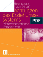 Yvonne Ehrenspeck, Dieter Lenzen Beobachtungen Des Erziehungssystems Systemtheoretische Perspektiven