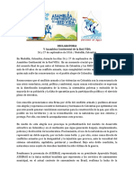Declaratoria v Asamblea Continental Red VIDA.sept 26 y 27 Colombia