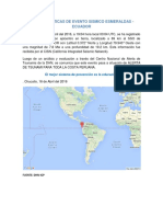 Características de Evento Sismico Esmeraldas