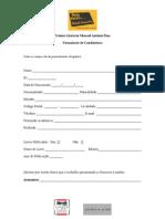 Formulário de Candidatura à 1.ª edição do Prémio Literário Manuel António Pina