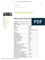 Physical and Chemcial Data - Methanol
