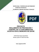 PROYECTO de REGLAMENTO Prevención y Control de La Contaminación Acústica
