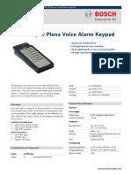 LBB 1957 00 Plena Voice Alarm Keypad Data Sheet EnUS
