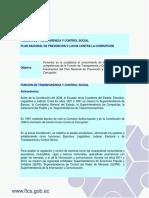 Función de Transparencia y Control Social - Plan Nacional de Prevención y Lucha Contra La Corrupción