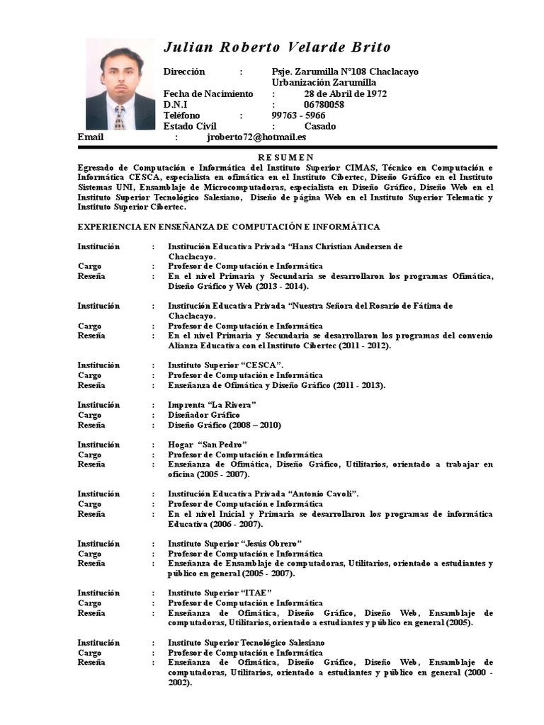 Julian Roberto Velarde Brito Curriculum Vitae