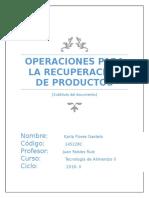 Ejemplos de Operaciones Para Recuperación de Productos
