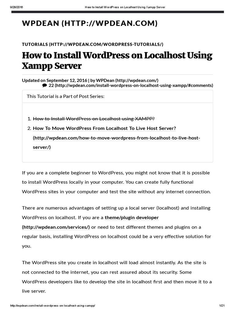 How to Install WordPress on Localhost Using Xampp Server