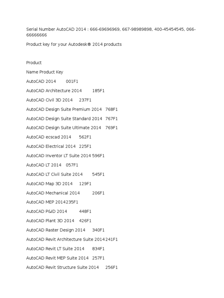 autodesk serial number and product key