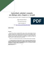 Edgar Straehle. Autoridad, Soledad y Mundo. Un Diálogo Entre Jaspers y Arendt
