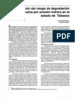 Evaluación del riesgo de degradación suelos Tabasco