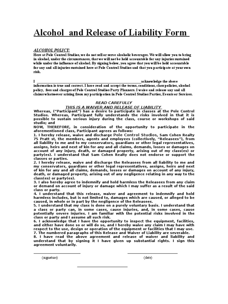 Alcohol and Release of Liability Form Indemnity – Release of Liability Statement Sample
