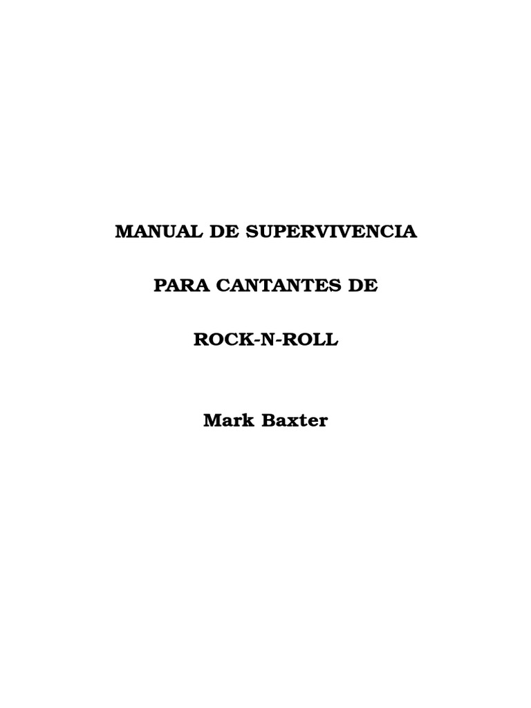 Manual de Supervivencia Para Cantantes
