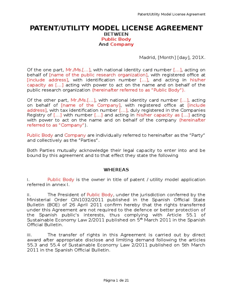 patent utilility model license agreement between public body and