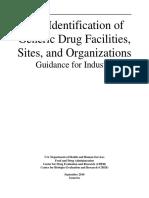 Self-Identification of Generic Drug Facilities Sites and Organizations September 2016 Generics GDUFA Self ID Final Guidance2