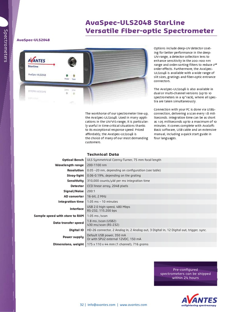 32-34 AvaSpec-ULS2048 StarLine Versatile Fiber-optic Spectrometer   Optical  Fiber   Image Scanner