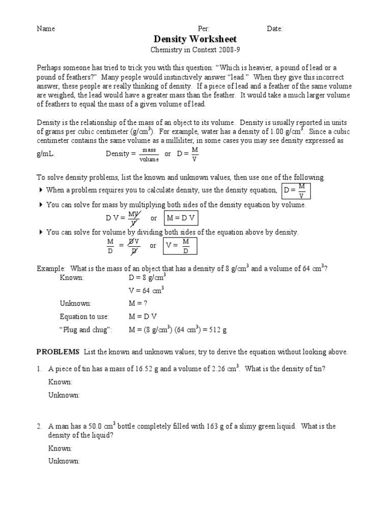 Density Worksheet  PDF  Density  Volume Pertaining To Density Calculations Worksheet Answer Key