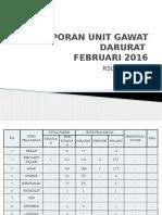 Laporan Unit Gawat Darurat Feb'16