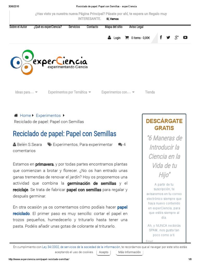 Reciclado de Papel_ Papel Con Semillas - ExperCiencia