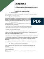 Plan d'Elaboration d'Un Questionnaire