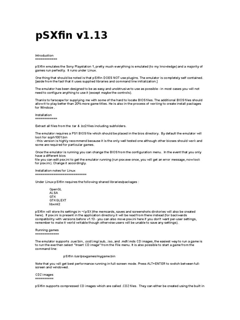pSXfin | Bios | Software Bug