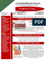 Newsletter for October 2016