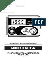 TELUROMETRO KYORITSU MODELO 4105A - MANUAL EN ESPAÑOL