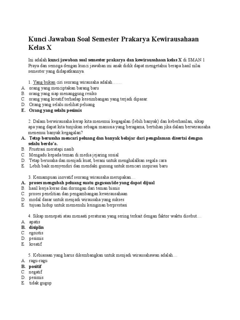 55 Contoh Soal Uts Prakarya Kelas 10 Sma Ma Semester Genap