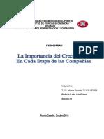 IMPORTANCIA DEL CRECIMIENTO EN CADA ETAPA DE LA COMPAÑIAS