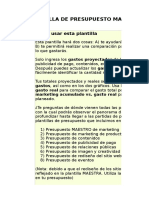 1) MASTER Plantilla de Presupuesto de Marketing