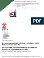 Em Favor Da Privatização e Da Reforma Do Ensino Médio, MEC Esconde Notas Dos IFs _ SINTIETFAL