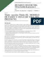 EL MODELO DE FASES Y CICLO DE VIDA DEL PROYECTO en Gestión de proyectos 2.pdf
