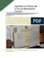 Cómo Legalizar El Título de Bachiller en El Ministerio de Educación