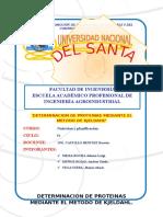 Determinacion de Proteinas Mediante El Metodo de Kjeldahl- Nutricion
