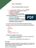 Texto Publicitário Síntese Características