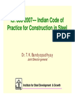 Is 800-2007- Indian Code of Practice for Construction in Steel