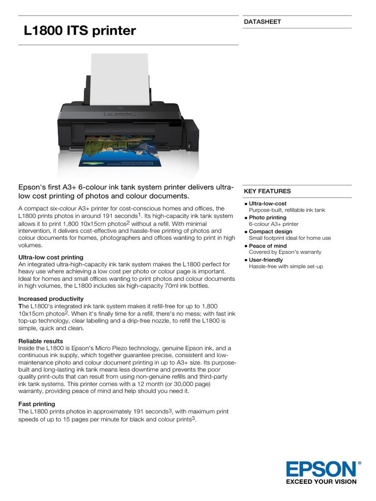 Epson L1800 A3+ Colour MultiFunction Ink Tank System Printer