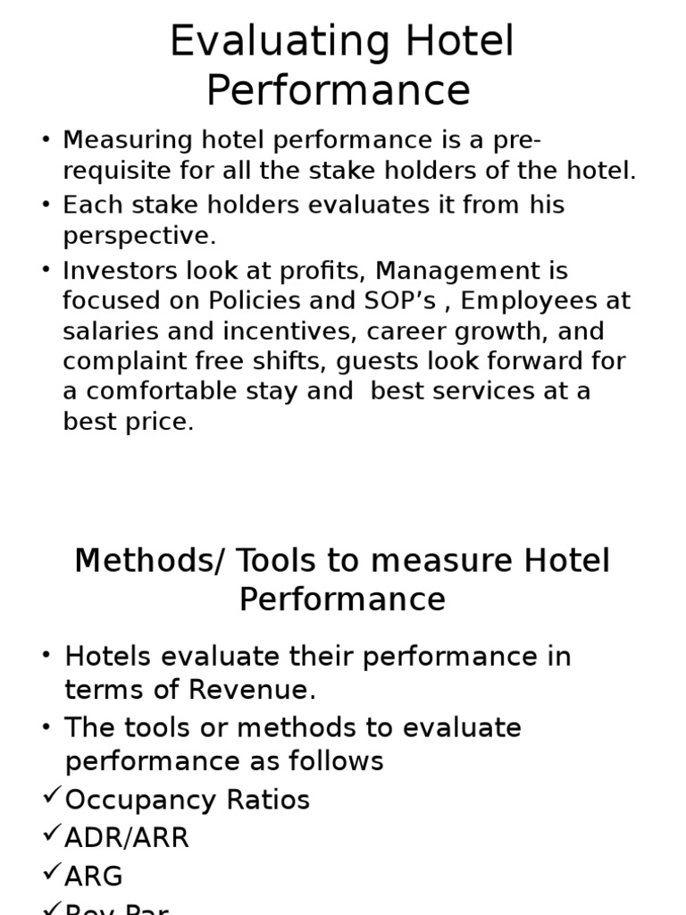Evaluating Hotel Performance | Business Economics | Business