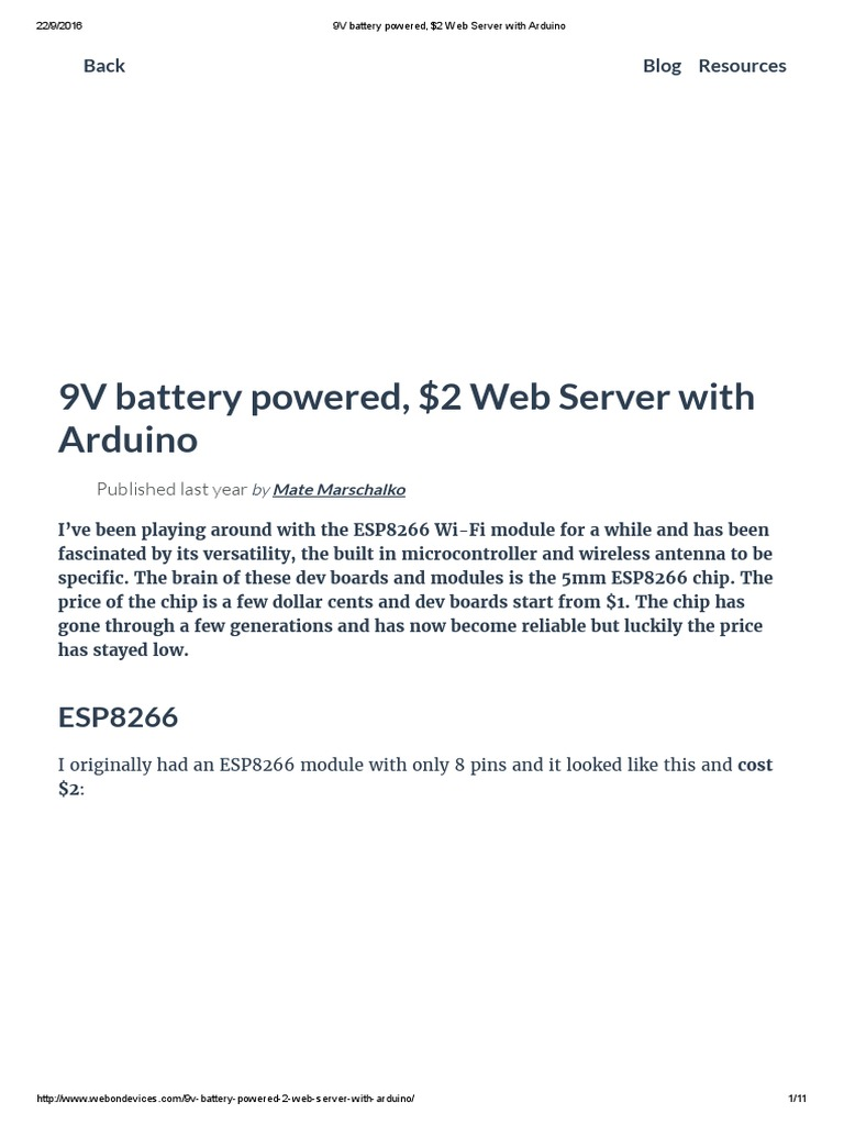 9V battery powered, $2 Web Server with Arduino | Arduino