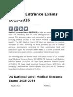 Medical Entrance Exams 2015