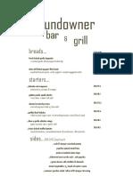 Sundowner Bar Dinner