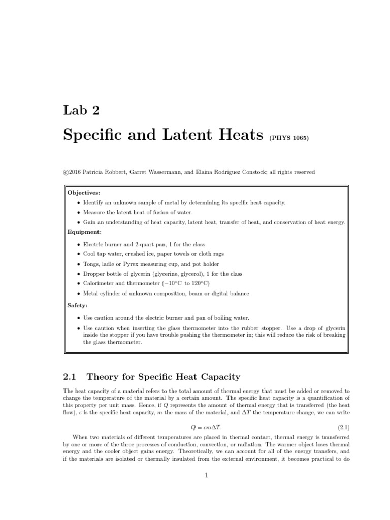 specific heat capacity lab report discussion