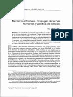 Derecho Al Trabajo Conjugar Derechos Humanos y Politica de Empleo