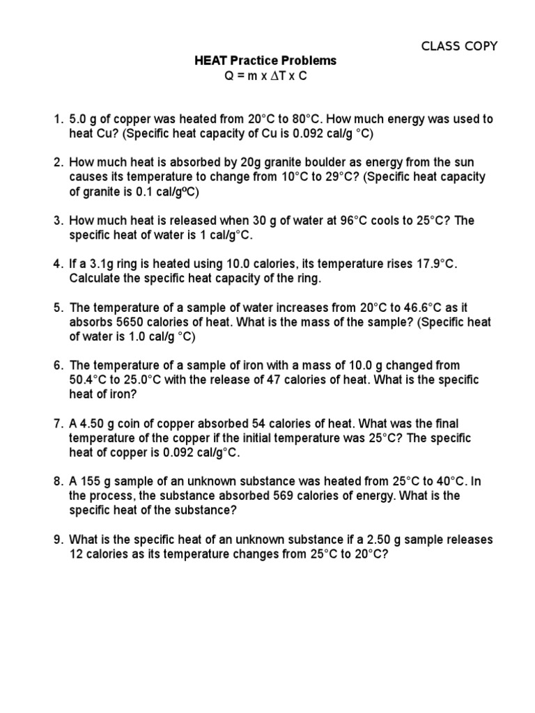 worksheet Specific Heat Calculations Worksheet heat practice problems capacity heat