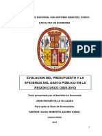 Evolucion Del Presupuesto y La Eficiencia Del Gasto Publico en La Region Cusco