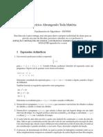 Lista de Exercício (Todo o Conteúdo) - Fundamentos de Algoritmos