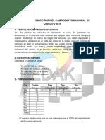 Reglamento Técnico Para Campeonato Nacional de Circuito 2016 1