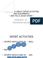 Vocabulary About Sport Activities and Equipments