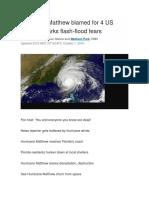 Hurricane Matthew Blamed for 4 US Deaths