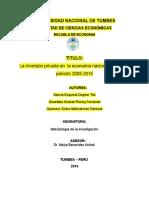 ECO VIII La Inversión Privada en La Economía Nacional Durante El Periodo 2005 2015 2 MARICARMEN