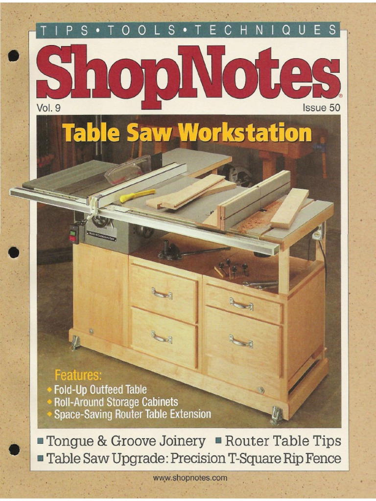 shopnotes 50 vol 09 table saw workstation pdf cabinetry 1 1 rh scribd com